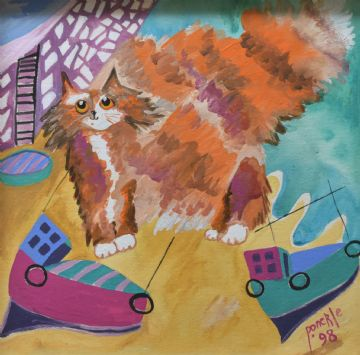 Ponckle Original Acrylic Painting Of A Ginger Cat